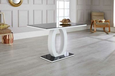 Giovani Black/White High Gloss Glass Dining Table