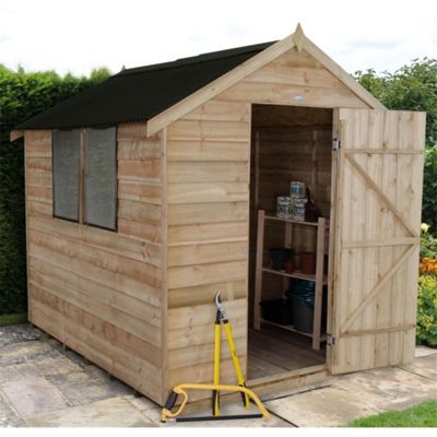 8 x 6 Rock Pressure Treated Overlap Apex Wooden Garden Shed - Onduline Roof 8ft x 6ft (2.44m x 1.83m)