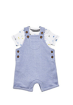 F&F Pirate Dog Print Bodysuit and Dungarees Set - Blue