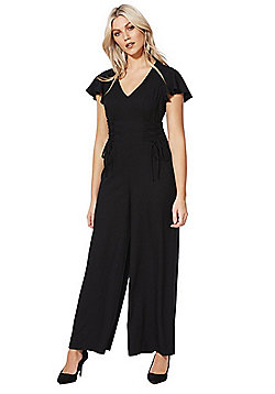F&F Corset Lace-Up Detail Wide Leg Jumpsuit - Black