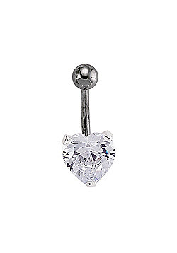 Sterling Silver Solitaire Belly Bar