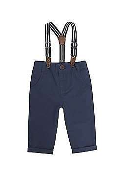 F&F Twill Chinos with Striped Braces - Navy