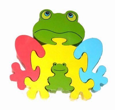 Traditional Wood 'n' Fun Animal Puzzles - Ackerman Toys Frog 12m+