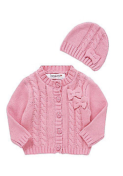 Babaluno Cable Knit Cardigan and Beanie Set - Pink