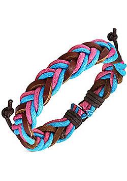 Urban Male 'Skye' Braided Men's Surfer Bracelet in Blue, Pink & Brown Leather & Cord