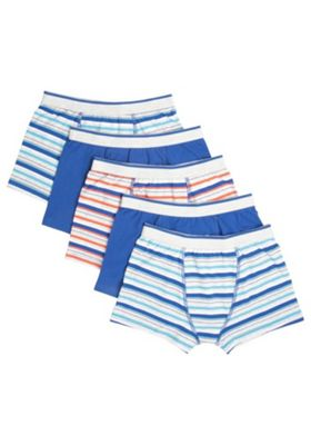 F&F 5 Pack of Fine Stripe Trunks with As New Technology Multi 5-6 years