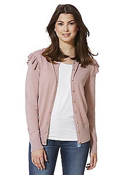 F&F Frill Trim Cardigan with As New Technology - Dusky pink
