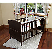 Poppy's Playground Isabella Cot Bed/Junior Bed With Foam Safety Mattress- Walnut