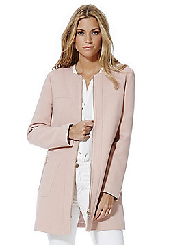 F&F Zip Detail Collarless Coat - Blush pink
