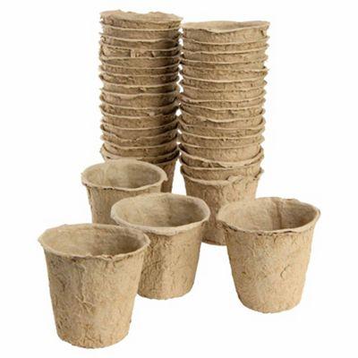 8cm Biodegradable Fibre Round Peat Pots - 108pc Multipack