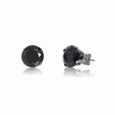 Urban Male Sterling Silver 8mm Black Round CZ Stud Earrings For Men