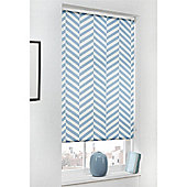 Hamilton McBride Duck Egg Chevron Printed Blackout Roller Blind - 150x165cm