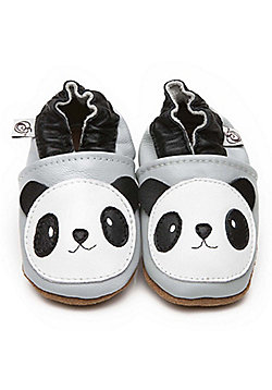 Olea London Soft Leather Baby Shoes Panda - Grey