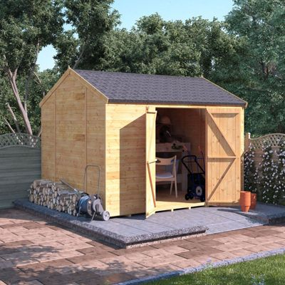 10x8 Tongue and Groove Wooden Workshop Garden Shed Double Door Windowless Reverse Apex Premium Roof Floor Felt 10ftx8ft