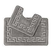 Homescapes Memory Foam Greek Key Grey Bath Mat Set Non Slip Backing