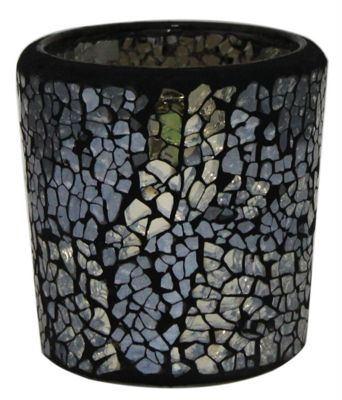 Black and Gold sparkle Mosaic Round Tealight Holder