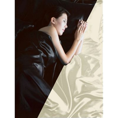Black / Cream Reversible Satin Double Duvet Cover, Fitted Sheet and 4 Pillowcases