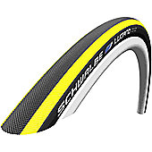 Schwalbe Lugano Tyre: 700c x 23mm Yellow Stripes Wired. HS 384, 23-622, Active Line, Kevlar Guard