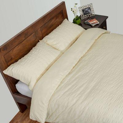Homescapes Cream Luxury Seersucker Duvet Cover Set, King