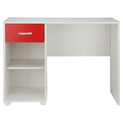Reno 1 Drawer Desk, White/Red