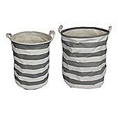 Two Grey Striped Round Storage Baskets