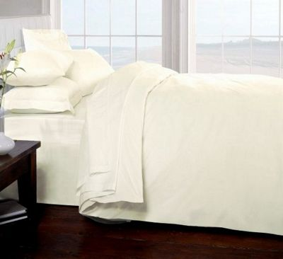 Egyptian cotton 200 thread count percale flat sheet - cream - king