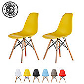 Set of 2 Modern Design Chair Eames Style (Yellow)