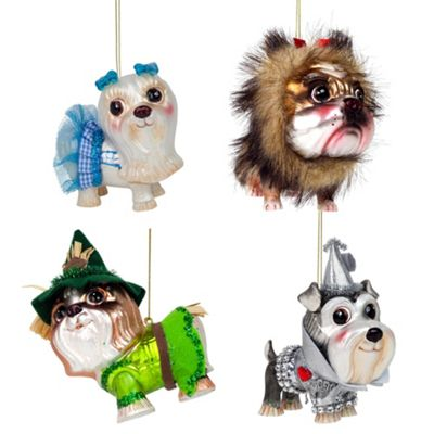 Set of 4 Wizard of Oz Glass Christmas Tree Bauble Ornaments