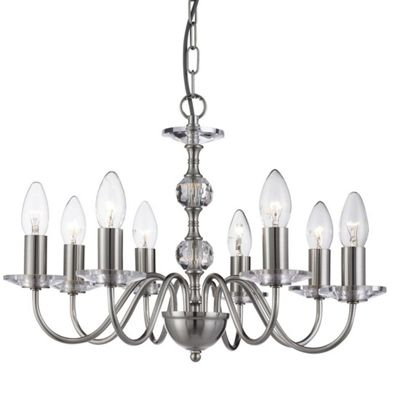 MONARCH - 8 LIGHT CEILING, SATIN SILVER, STACK CLEAR GLASS BALLS, GLASS SCONCES