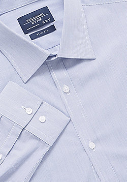 F&F Narrow Stripe Slim Fit Long Sleeve Shirt - Blue