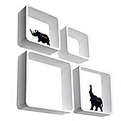 Cube - Wall Display / Storage Cube Shelves - Set Of Four - White