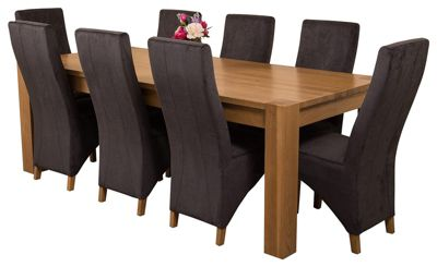 Kuba Chunky 220cm Kitchen Solid Oak Dining Set Table and 8 Black Fabric Chairs