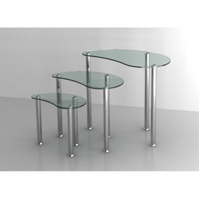 Set of 3 Clear Glass Nesting Coffee Tables