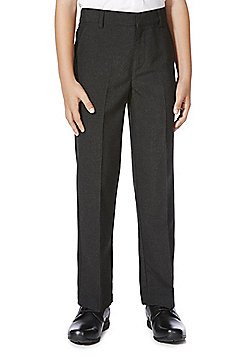 F&F School Boys Flat Front Slim Leg Trousers - Grey