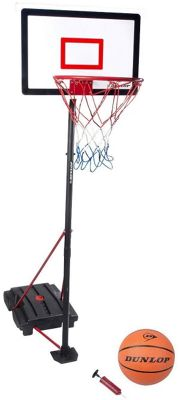 Dunlop 3 Piece Basketball with Portable Stand & Net with Basketball and Pump