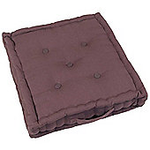 Homescapes Cotton Chocolate Brown Floor Cushion, 40 x 40 cm