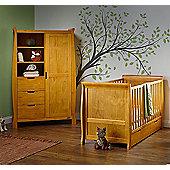 Obaby Stamford 2 Piece Cot Bed/Wardrobe Nursery Room Set - Country Pine