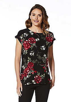 F&F Rose Print Front Jersey Top - Black