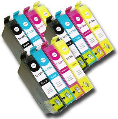 12 Chipped Compatible Epson Stylus Apple T1291-4 (T1295) Ink