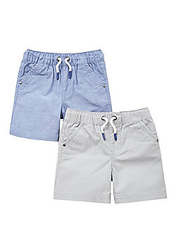 F&F 2 Pack of Woven Drawstring Shorts - Blue & Grey