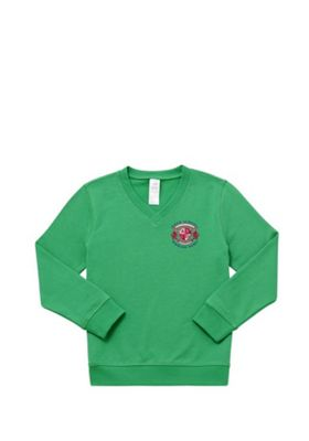 Unisex Embroidered Cotton Blend School V-Neck Sweatshirt with As New Technology 3-4 years Emerald green
