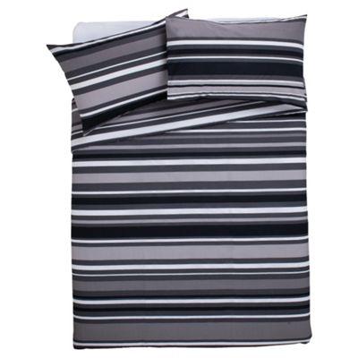 Tesco Every Day Value Duvet Cover Set Black Stripe Double