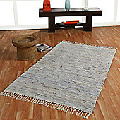 Homescapes Leather Glitter Rug Silver and Natural, 66 x 200cm Runner