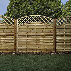 Mercia Convex Horizontal Weave with Trellis Fence Panel 6ft Pressure Treated