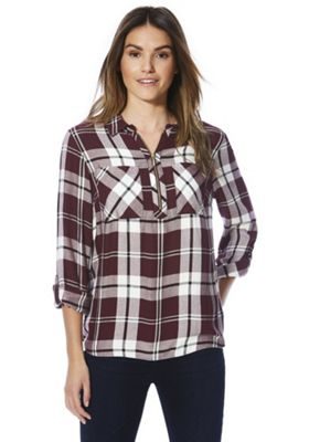 F&F Checked Zip Neck Shirt 6 Burgundy