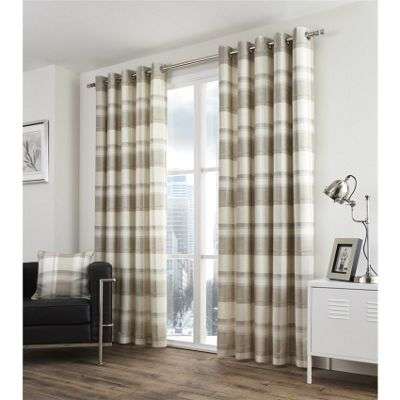 Fusion Balmoral Check Natural Lined Curtains - 66x90 Inches (168x229cm)