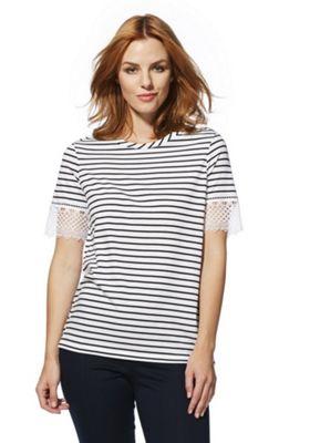 F&F Striped Lace Trim T-Shirt White/Navy 14