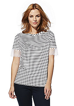 F&F Striped Lace Trim T-Shirt - White/Navy