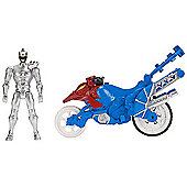 Power Rangers Dino Super Charge Dino Stunt Cycle with Silver Ranger Figure