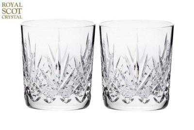Royal Scot Crystal Highland Set of 2 Crystal Whisky Tumblers | Black Gift Box | 210ml